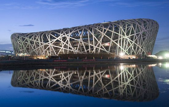 I watched a show on the Bird's Nest's construction -- suffice it to say that this is not something that could've been built without some significant software design/fabrication help.