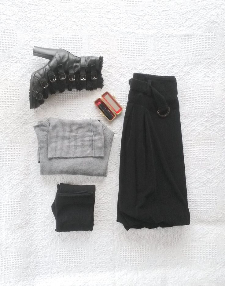 #Black Ankle Boots (owned); #Grey Cashmere Turtle-Neck Jumper (owned); #Black Velvet Skirt (#United Colours of Benetton); #Black Thermal Tights (Woolworths); Make-up: #Rimmel Kate Moss Lasting Finish Red 22 Lipstick