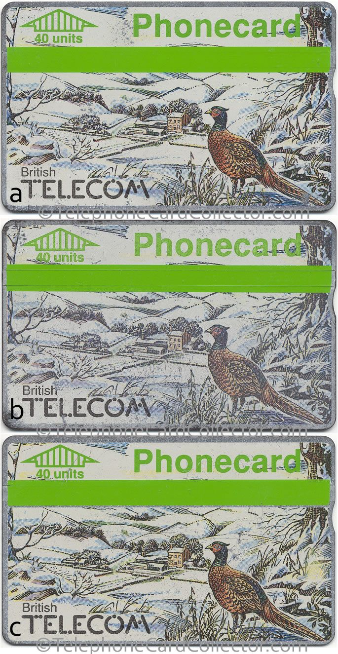 Different green strip variations on a BT Phonecard.  Card a (top) - strip completely smooth to touch. Card b (centre) - visible ridges. Carb c (bottom) - strip shifted to reveal silver strip.