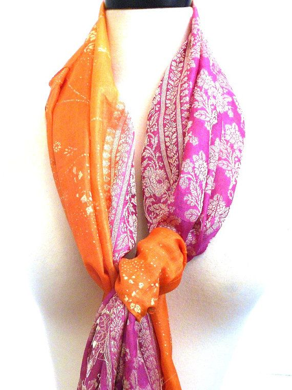 Pink Scarf Orange Scarf Silk Sari Scarf Brocade by MiriTextiles, $30.00