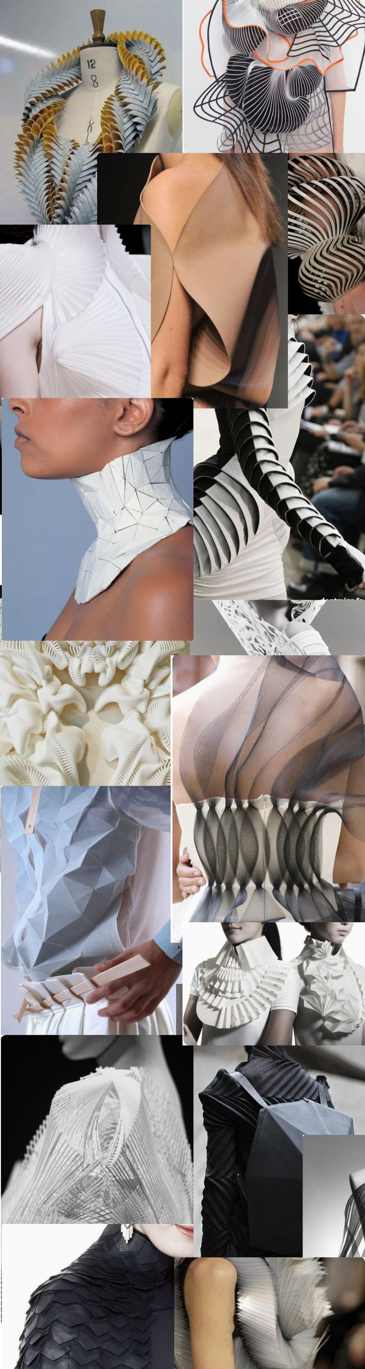 Fashion Forecasting - Moodboard | Sculptural Wearble Tech, futuristic tends, 3D Printed clothing and accessories style for women
