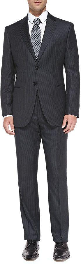 Giorgio Armani Taylor Pinstripe Suit, Charcoal/Black