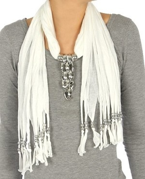 Jewelry Scarf and Beaded Fringe - White  $19.95