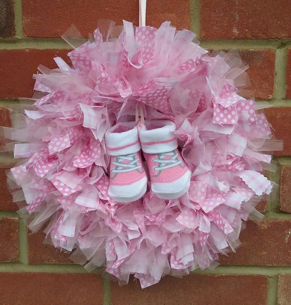 New Baby Girl Fabric Rag Wreath by CathysHandmadeGifts on Etsy