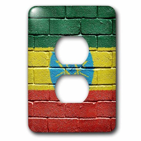 3dRose National flag of Ethiopia painted onto a brick wall Ethiopian, 2 Plug Outlet Cover