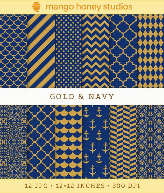 Gold and Navy Digital Paper, Blue and Gold Patterns ... Gold And Navy Chevron Wallpaper