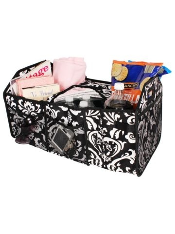 Damask Utility Storage Tote with Insulated Bag #DMSK516-BK - Wholesale Accessory Market