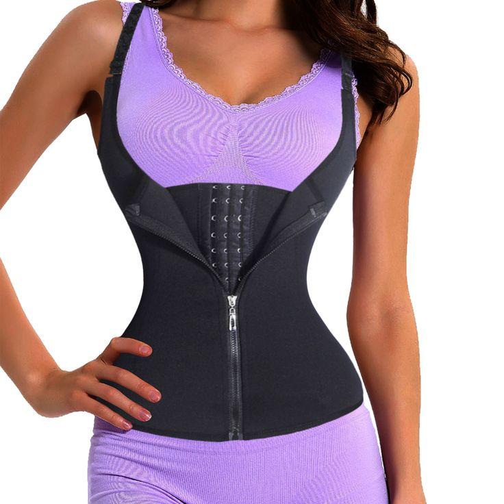 Women Strap Corset Waist Trainer with Zipper Tummy Control Vest Full Body Shaper Waist Cincher Slimmer Shaper Trimmer Shapewear