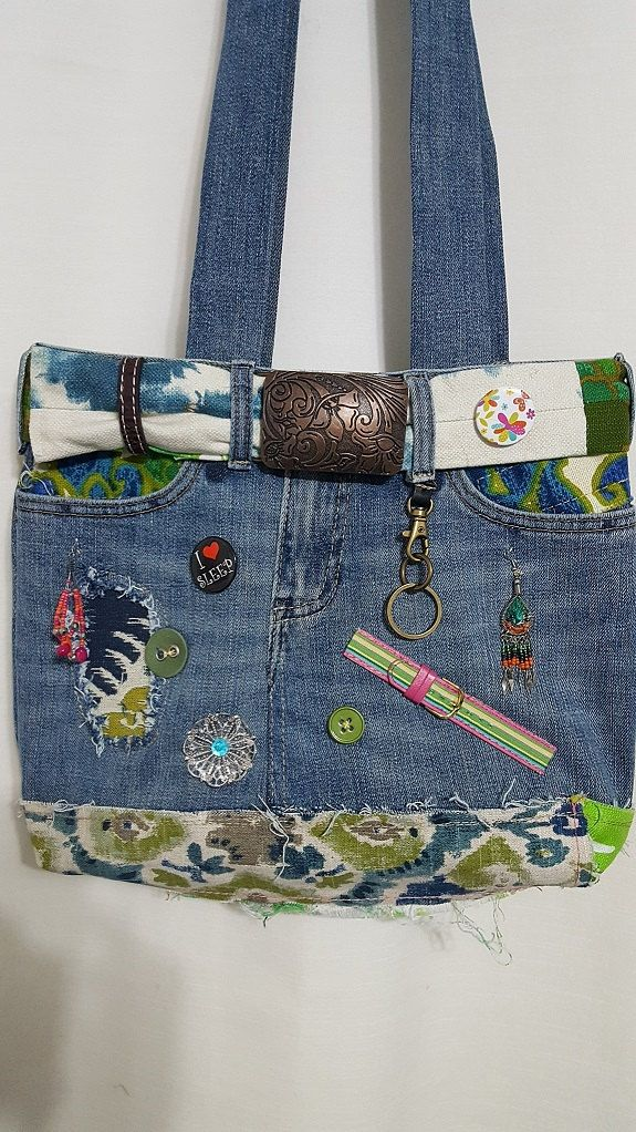 Handmade crafted purse made out of old Jeans costume jewelry zippers inside and on top visit beatrizdesigns.patternbyetsy.com by BeatrizDesigns on Etsy