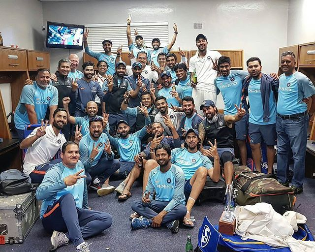 Only good bowling can win you Test matches. This time they actually did it! What a match! What a victory! Kudos You All. … Indian Test team celebrat…