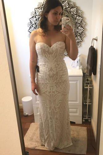 2243f09918dc9 Lulus | Olivia White Sequin Strapless Maxi Dress | Size Large | 100 ...