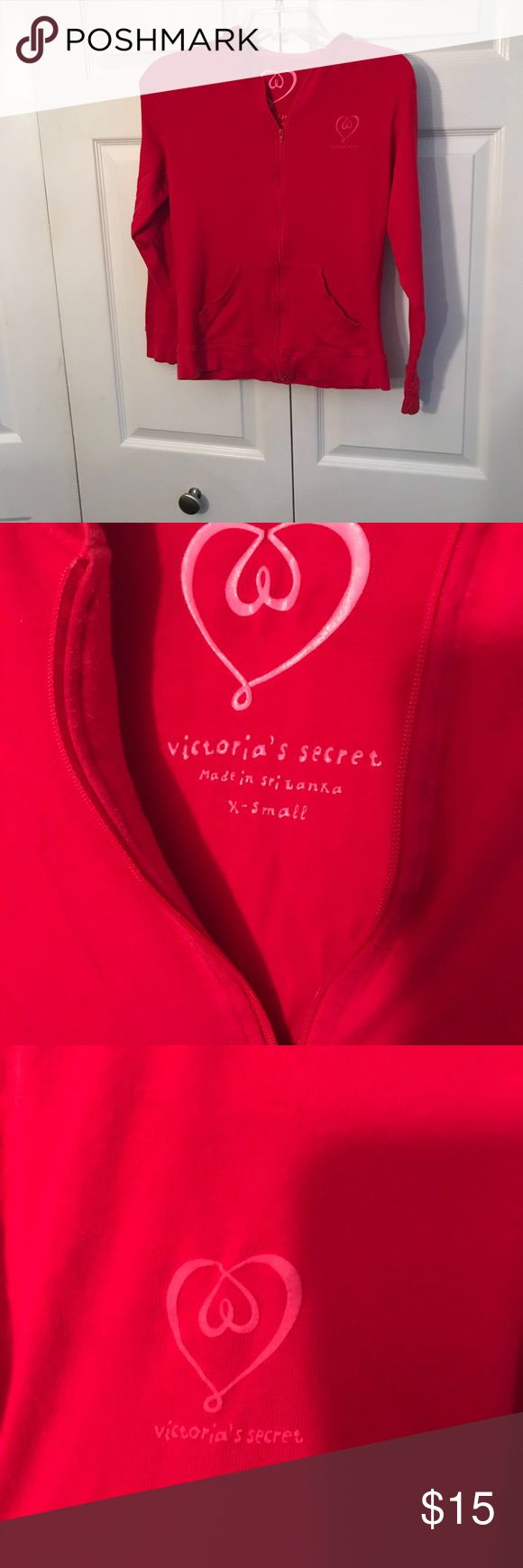 ❤️Victoria's Secret red zip up hoodies size XS❣️ Red Victoria's Secret Women's size xtra small. In excellent condition and light and comfortable. Victoria's Secret Tops Sweatshirts & Hoodies