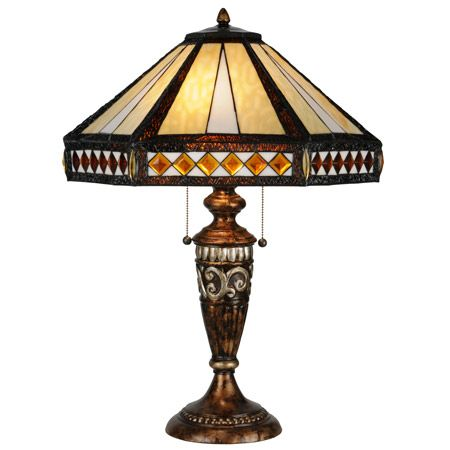 Craftsman lamp with decorative base and hexagonal art glass shade with amber glass jewels.