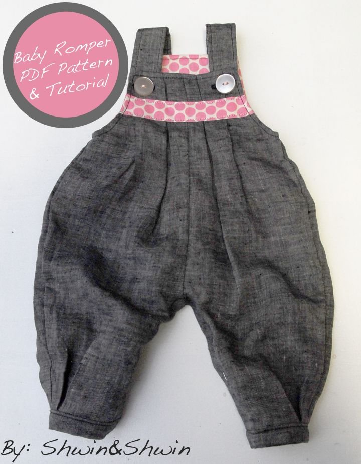 "Free Sewing Pattern (pdf) & Tutorial: Overall-style baby romper by Shwin as part 2 of their ""Baby+Belly"" series (10 Sep. 2012). Project also featured on Freeneedle.com."