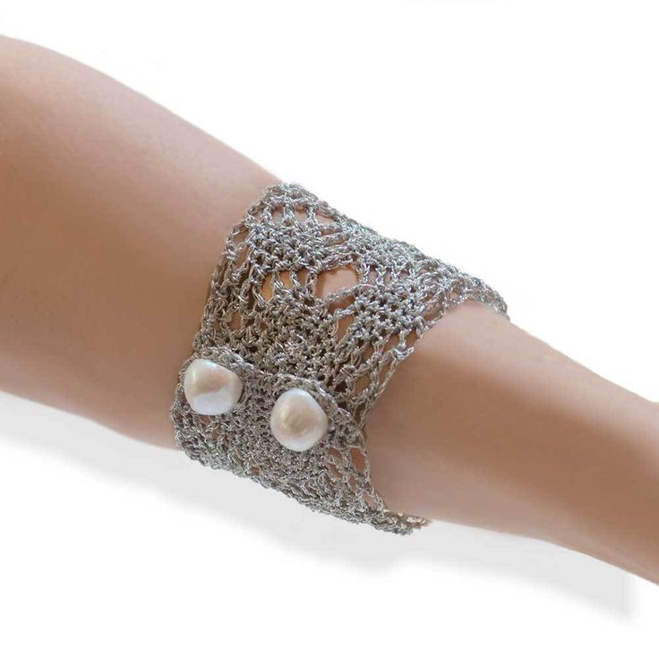 Handmade Silver Plated Knit Crochet Bracelet with Freshwater Pearls - Anthos Crafts