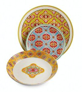 Villa d'Este Dinasty Dinner Service Plates Porcelain Set of 18 Multicoloured: Amazon.co.uk: Kitchen & Home