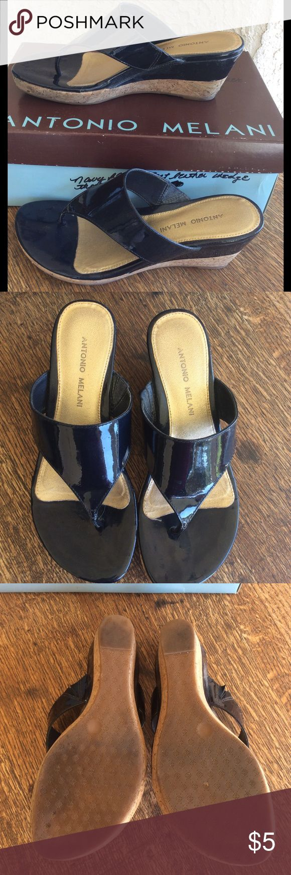 """Antonio Melani Navy Sandals Navy patent leather sandals in original box. Heel is 2.5"""". Mark on the patent leather on inside of left shoe. This item must be purchased as a part of a bundle. May not be purchased individually. ANTONIO MELANI Shoes Sandals"""