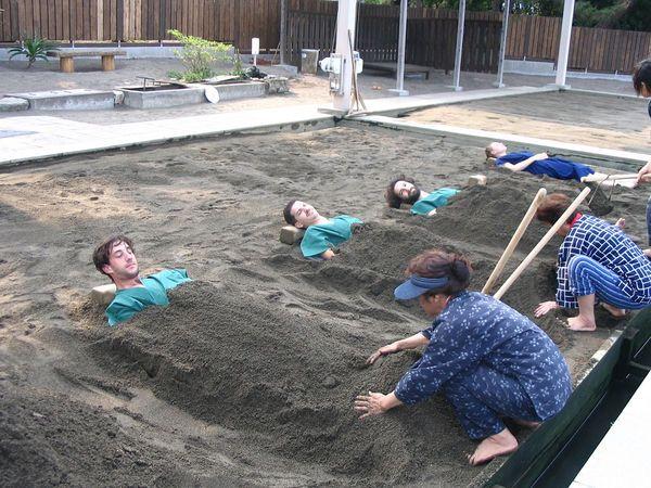 Get buried in hot sands on Beppu Beach ~ Kyushu