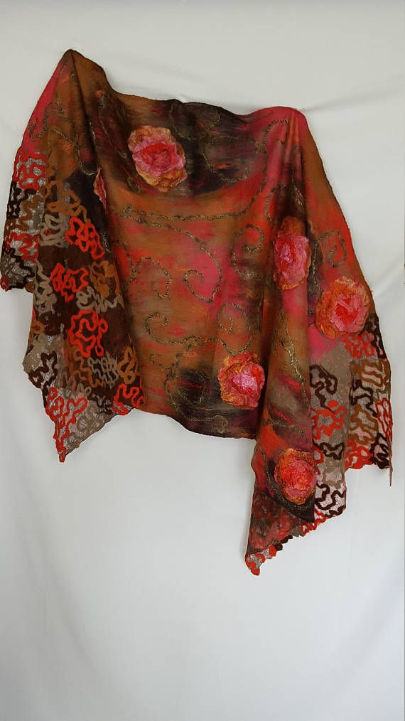 This is an elegant felted shawl. To create this large felted stole I used extra fine Australian merino wool, tussah and mulberry silks, hand dyed margilan silk. It is decorated with yarn (mohair and viscose). You will fill very cosy having wrapped yourself in this soft stole. Light weight 180 g/6.3 oz, approx. 173x67 cm/68x26.3 in. Elegant accessory. Only one available, OOAK. Care instructions: 1. Only gentle hand wash in room indoor temperature water with natural soap or shampo...