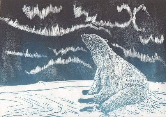 Polar Bear and Aurora Linocut by minouette on Etsy, $32.00