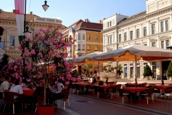 Szeged. Down by the Serbian border to the south east, the university town of Szeged has a relaxed charm. It originally flourished on the back of the salt trade but was destroyed by the great flood of 1879 and consequently rebuilt in style.