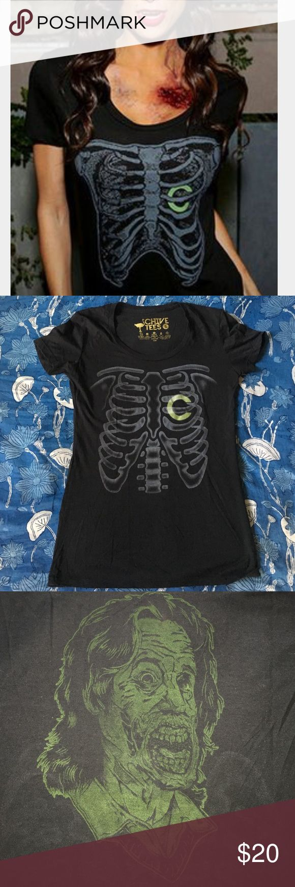 Chive Boneyard Tee Glow in the dark Chiver at heart tee. 60/40 cotton-poly blend. You can flip the shirt over your head for a scary surprise. KCCO! Discontinued style. Chive Tees Tops Tees - Short Sleeve