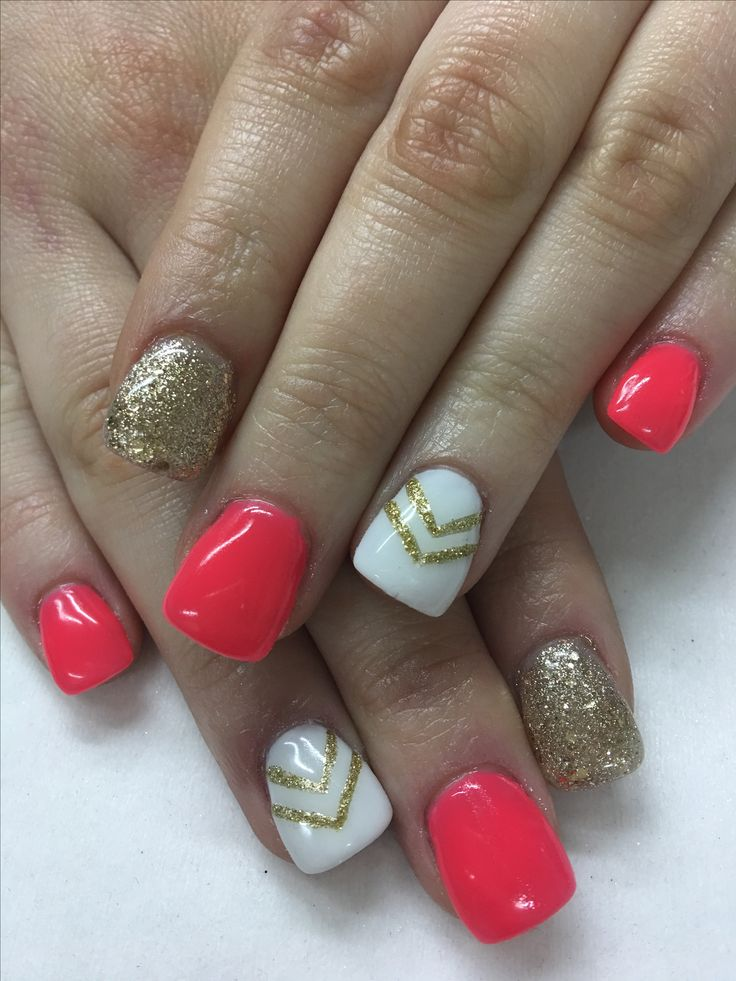 Funky watermelon gold glitter Chevron Gel nails Hand Sculpted Length using non-toxic odorless Hard Gel.
