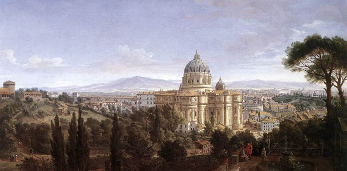 Paintings Reproductions WITTEL, Caspar Andriaans van The St Peter's in Rome, 1711