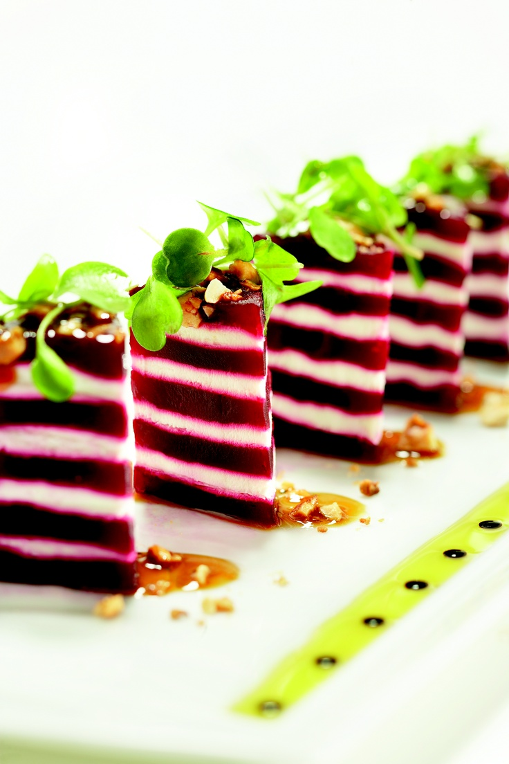 Spago's signature beet layer cakes promise a satisfying epicurean experience at The Ritz-Carlton, Bachelor Gulch.Goats Chees, Roasted Beets, Spago Signature, Layer Cakes, Ritzcarlton, Beets Layered, Bachelor Gulch, Signature Beets, Layered Cake