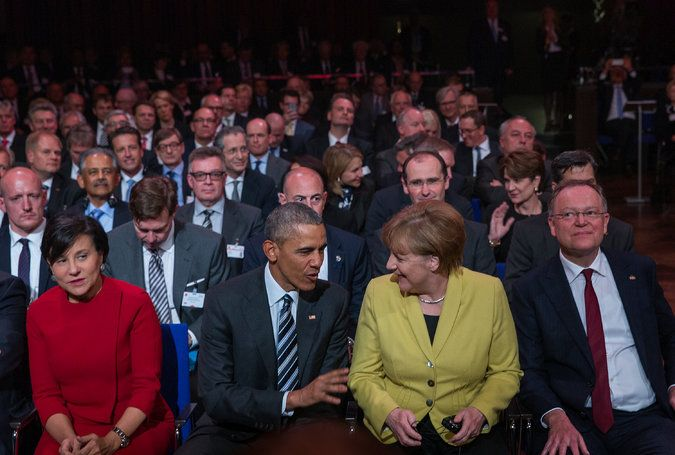 """Standing next to Chancellor Merkel in Hanover, President Obama said the benefits of a new trans-Atlantic trade deal were """"indisputable."""""""