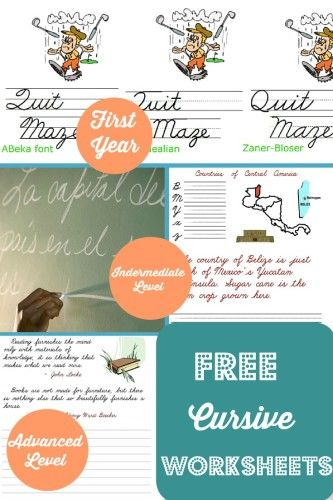 FREE Cursive Worksheets to use for homeschool or review. Three levels available.
