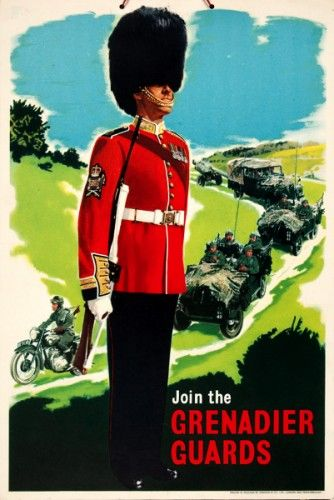 Join the Grenadier Guards.  Original chromolithograph printed for H.M. Stationary Office by Jordison & Co. London, c.1960 #troopingthecolour