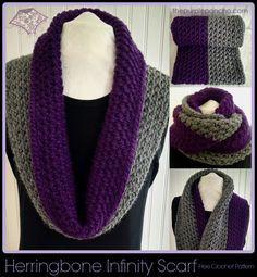 http://www.thepurpleponcho.com/herringbone-infinity-scarf-a-free-crochet-pattern/