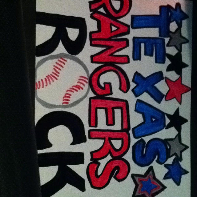 I made this!! For the Texas rangers Game tonight!:) yay!!!