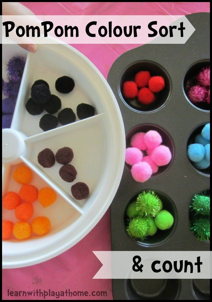 Learn with Play at home: Pom-pom Colour Sort & Count. Early Maths. See how to encourage problem solving with your initial set up of the activity.