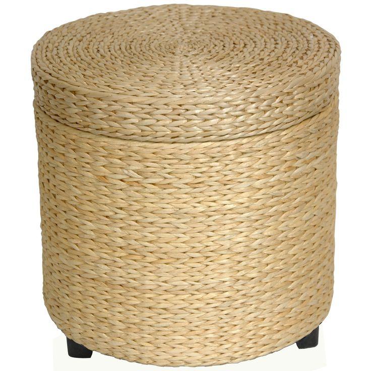 OrientalFurniture Handmade Rush Grass Storage Footstool
