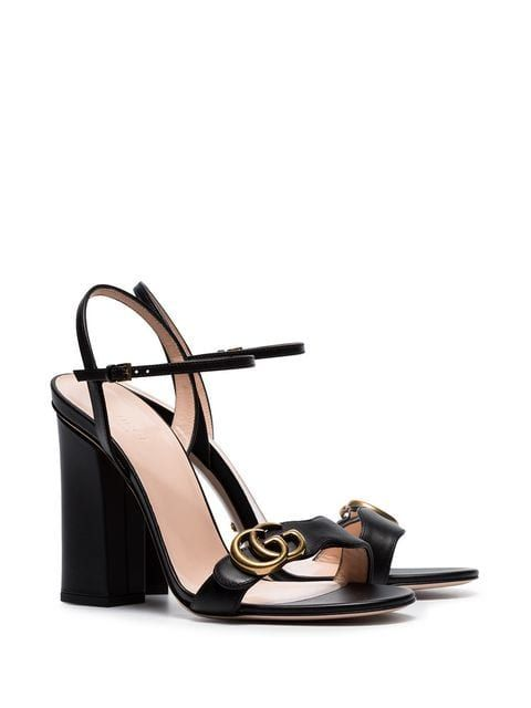 c73553fdef3c Gucci Marmont 110 Chunky Heel Leather Sandals in 2019 | SPRING 2019 ...