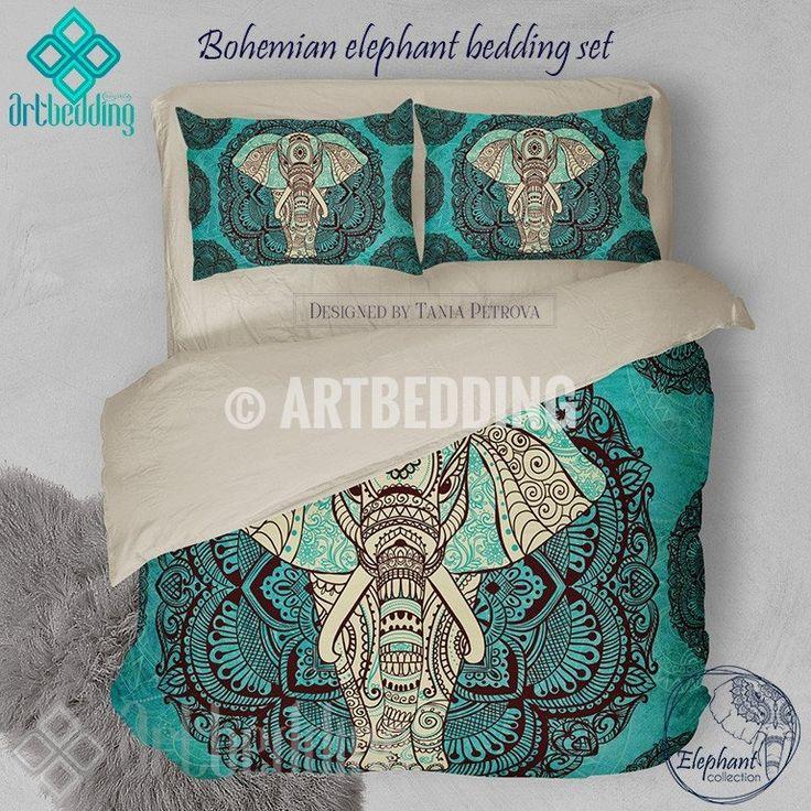 Elephant bedding, Bohemian queen / king / full / twin duvet cover set, Elephant bohemian vintage bedding set, Boho duvet cover set