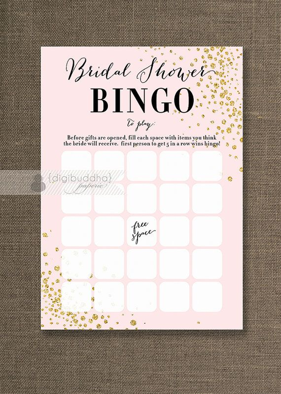 Blush Pink & Gold Glitter Bridal Shower Bingo Cards Modern Glam Bride Wedding Game 4x6 5x7 Printed Game Cards FREE PRIORITY SHIPPING - Remy style available at digibuddha.com