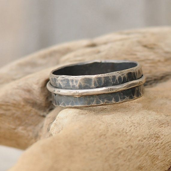 Mens Wedding Band - Mens Hammered Silver Wedding Band - Artisan Promise Ring for Him - Sterling Silver on Etsy, $150.00