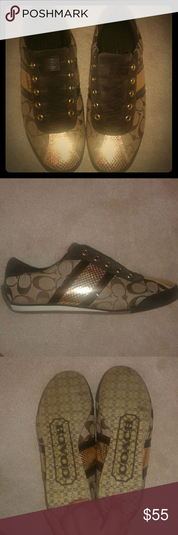Coach sneakers Chocolate brown Coach sneakers. Super comfy and trendy to your casual outfit. The sneakers feature gold accents and a brown patent leather stripe. These are gently used. The sneakers are worn without laces. These are the perfect addition to your Coach collection! Shoes Sneakers