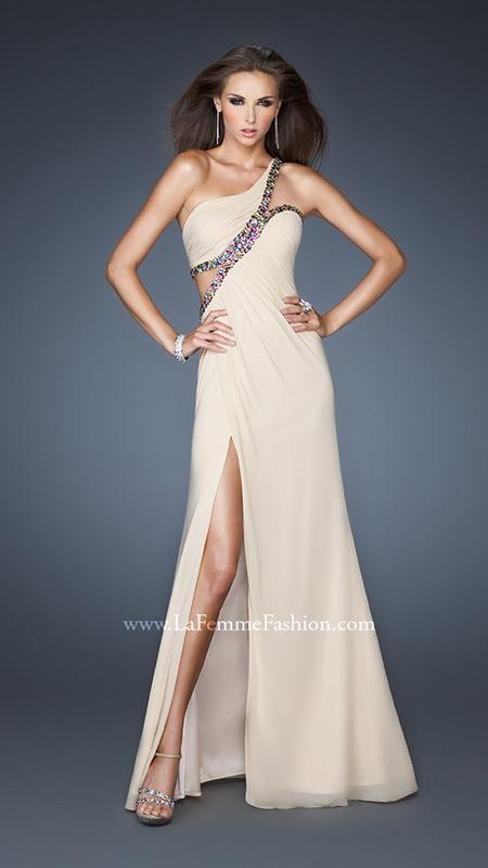 { 18994 | La Femme Fashion 2013 } La Femme Prom Dresses - Nudes & Neutrals - One Shoulder - Cut Out Side and Back - Multi Colored Stones