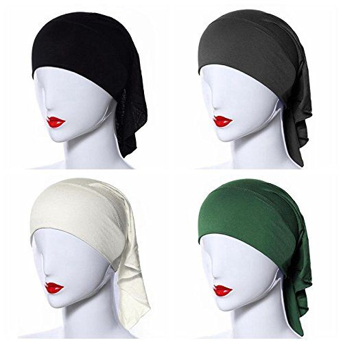 BaiTe 4pcs Stretch Elastic Hijab Cap for Women Summer Underscarf Tube Cap Head Cover Scarf * Check this awesome product by going to the link at the image.