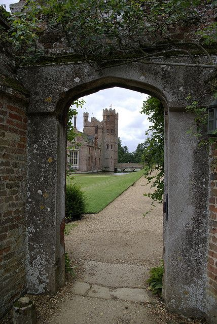 Oxburgh Hall is a moated country house in Oxborough, Norfolk, today in the hands of the National Trust. Built around 1482 by Sir Edmund Bedingfeld, Oxburgh has always been a family home, not a fortress. The manor of Oxborough came to the Bedingfeld family by marriage before 1446, and the house has been continuously inhabited by them since their construction of it in 1482.