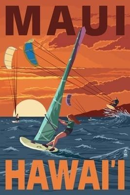 Maui, Hawaii - Windsurfers Scene at Sunset - Lantern Press Poster