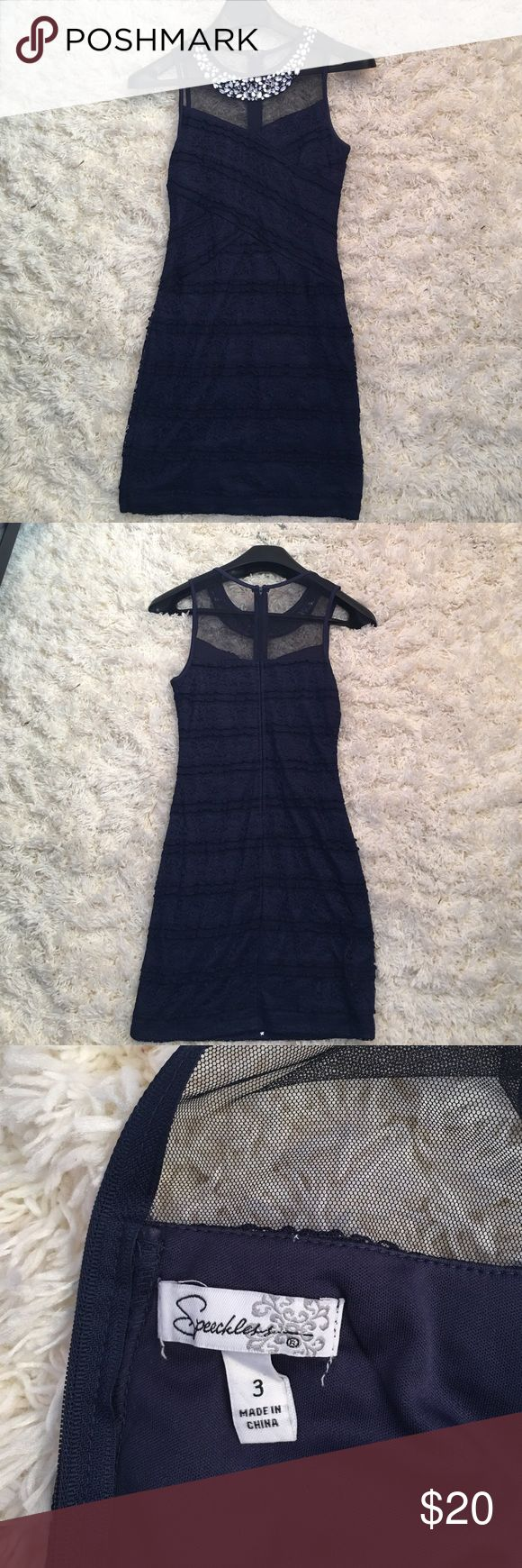 Homecoming Dress Navy bodycon dress with mesh and jeweled neckline! Worn once for homecoming! Lace type material for the body of the dress. Feel free to make offers, and if you want me to try it on I can ! Speechless Dresses Mini
