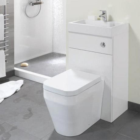 Eco Bathrooms 500 Gloss White Combined Washbasin U0026 WC Pan With Soft Close  Seat