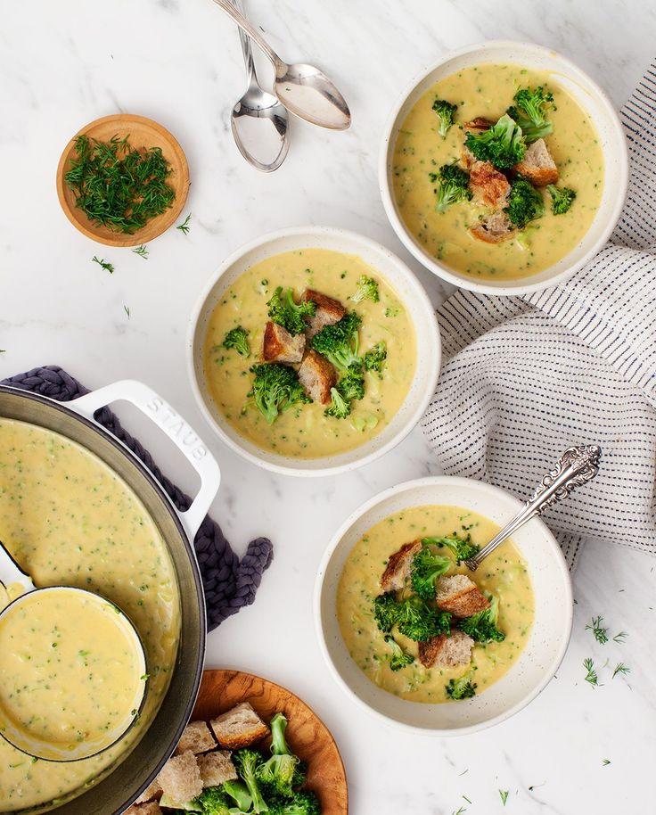 "Vegan ""Cheesy"" Broccoli Soup"