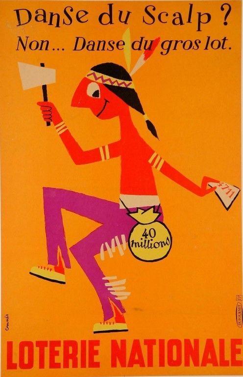 """Original Vintage Loterie Nationale Poster by Omnès """"DANSE Du Scalp"""" CA 1960"""