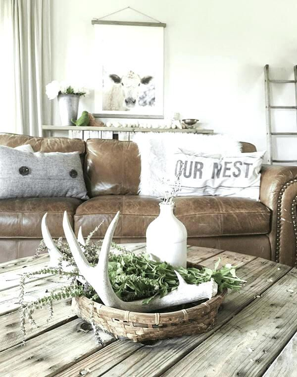 Idea For Antlers In Living Room Farm House Living Room Rustic Farmhouse Living Room Farmhouse Decor Living Room Living room decorating ideas farmhouse